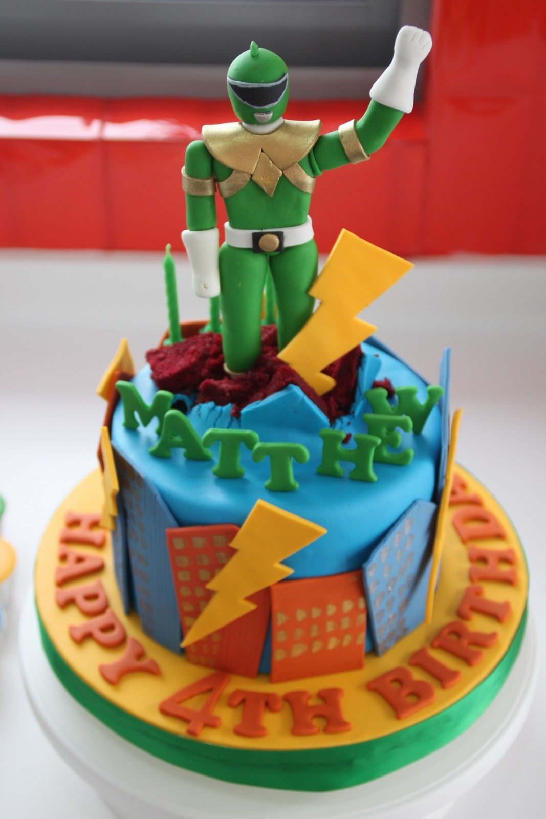 Celebrate with cake power ranger cake and cupcakes