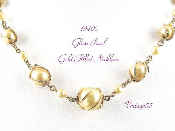 (SOLD) Vintage Necklace Glass Pearl Caged Gold Filled by Vintage55
