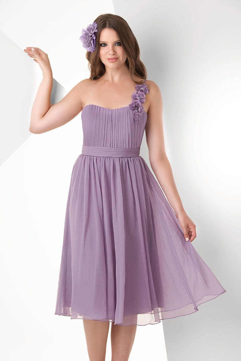 MZ0319 Light Purple Chiffon One Shoulder Draped Backless Knee Length ...
