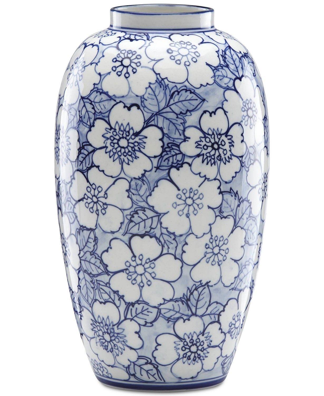 Lenox Painted Indigo Floral Tall Vase   macys.com #VasesDecorRibbon on macy clothing, macy dishes, macy purses, macy furniture, macy curtains, macy shoes,
