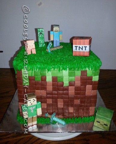 Coolest Minecraft Birthday Cake Idea Minecraft birthday cake
