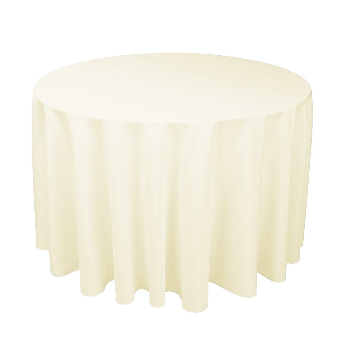 108 Inch Round Over 48 Inch Table Available In Ivory White And Black Rental 8 50 With Images Table Cloth Round Tablecloth Table Linens