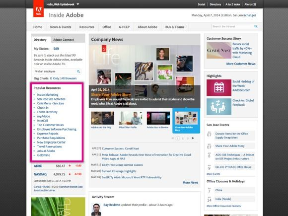 adobe intranet homepage quick links screenshot web