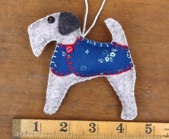 Felt Christmas ornament Felt dog ornament Dog by PuffinPatchwork