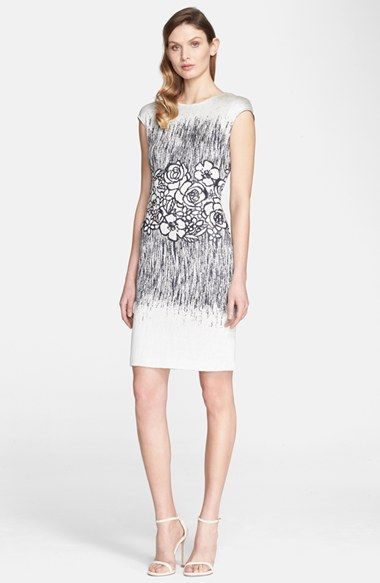 St. John Collection Floral Shimmer Jacquard Knit Dress available at #Nordstrom