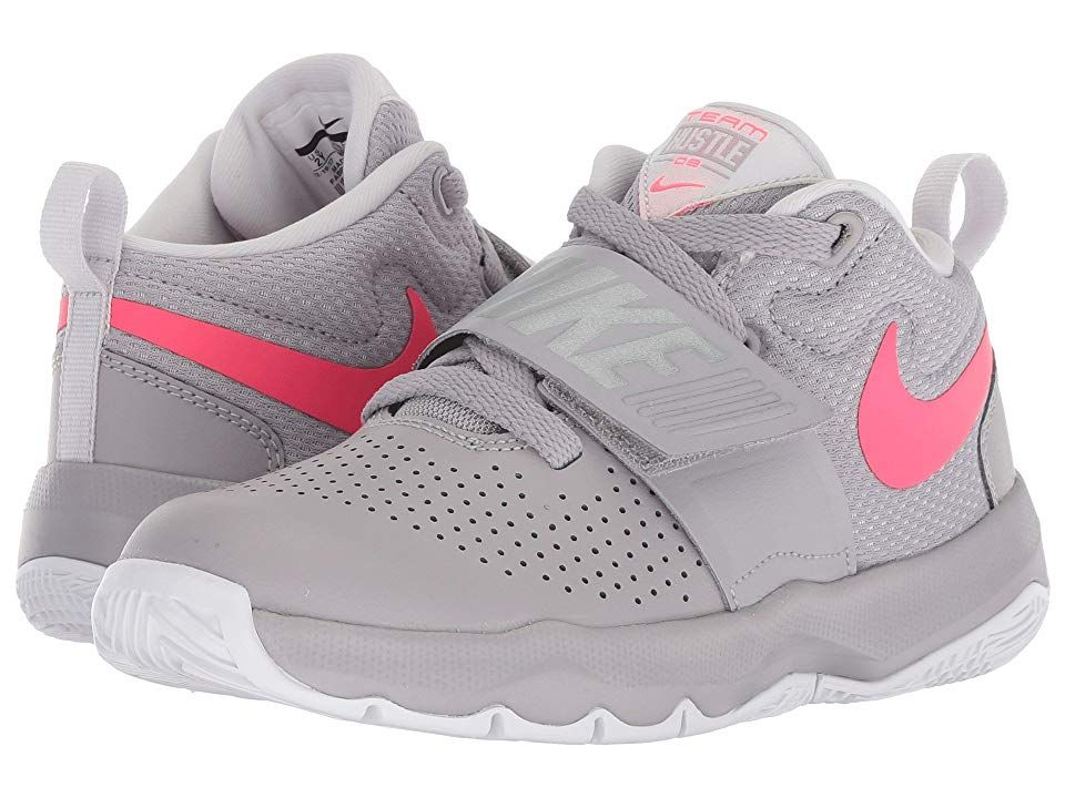 new styles aa4e1 cd9f5 Nike Kids Team Hustle D8 (Little Kid) (Atmosphere Grey Racer Pink Vast Grey)  Girls Shoes. Work off the hustle on the courts and make those threes with  the ...