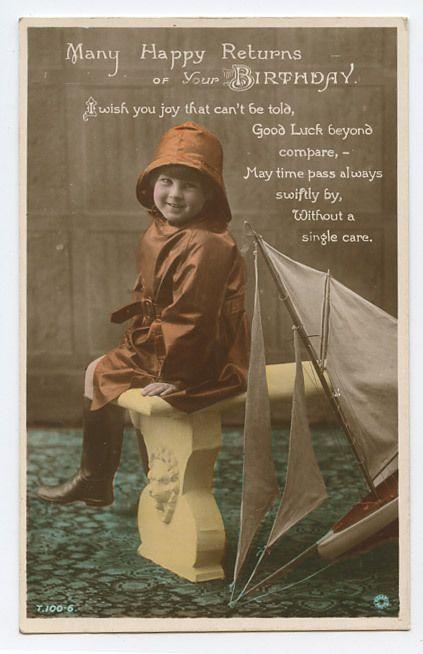 TOY SAIL BOAT Sailor Child Boy original old 1920s Photo postcard ...