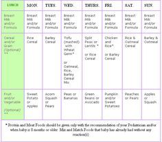 diet chart for 6 month baby: 4 6 8 months baby menus baby menus and feeding schedule for
