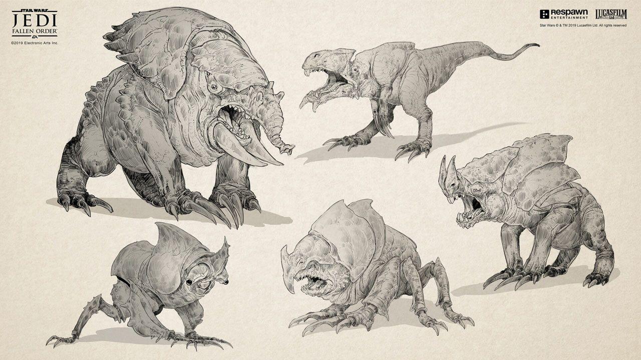 Bogano Fodder Early Ideas Art Star Wars Jedi Fallen Order Art Gallery Star Wars Creatures Creature Concept Art Animal Concept Art