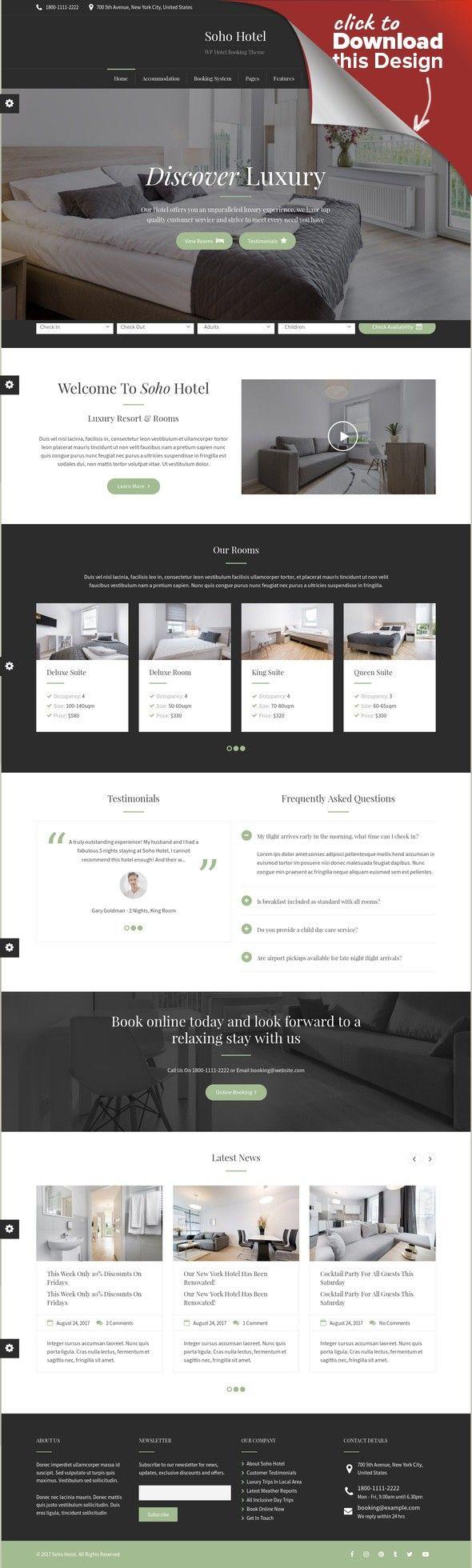 Soho Hotel - Responsive Hotel Booking WP Theme | Soho hotel, Site ...