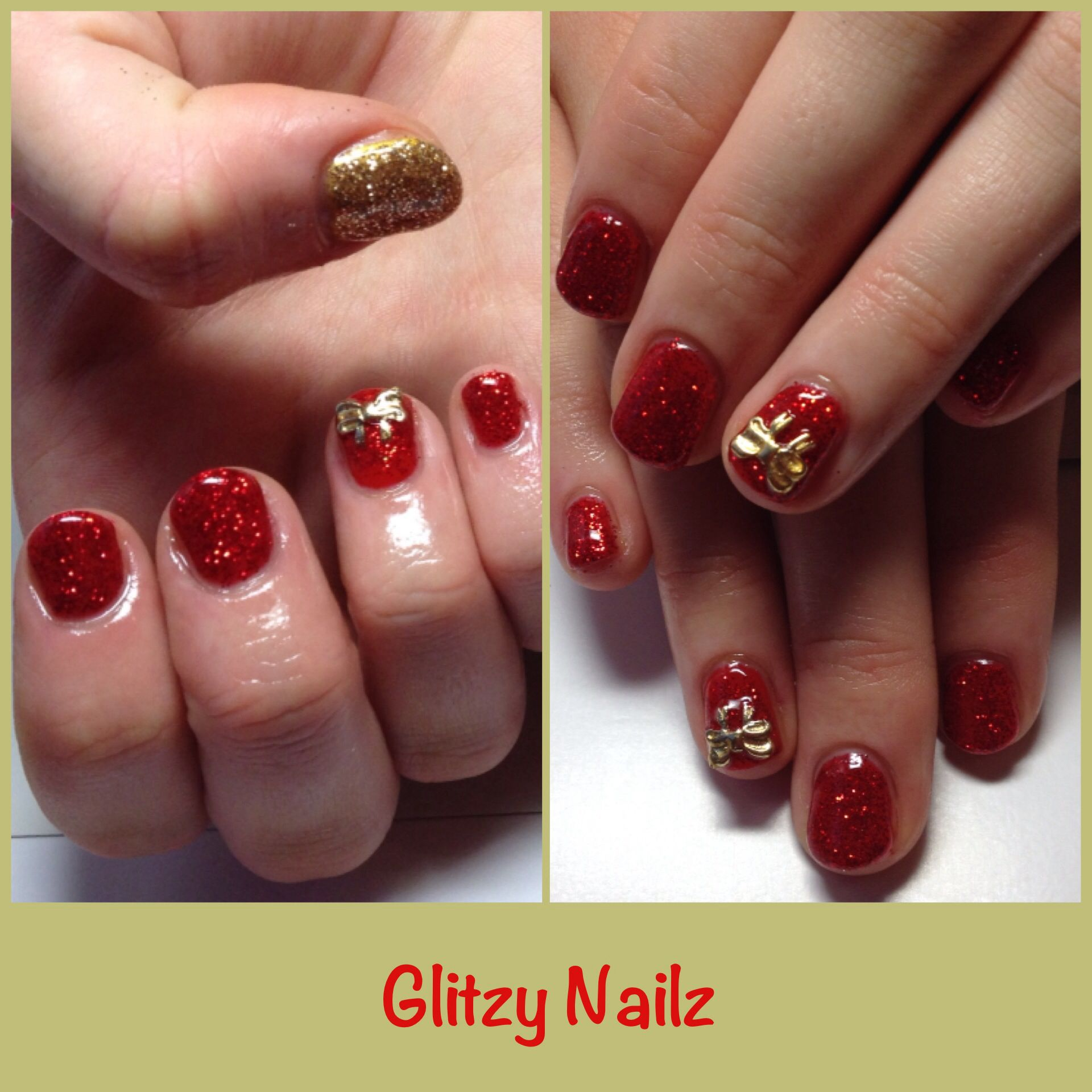 Classic Christmas Nails with Hex Nail Jewelry Bows | Nail Art ...