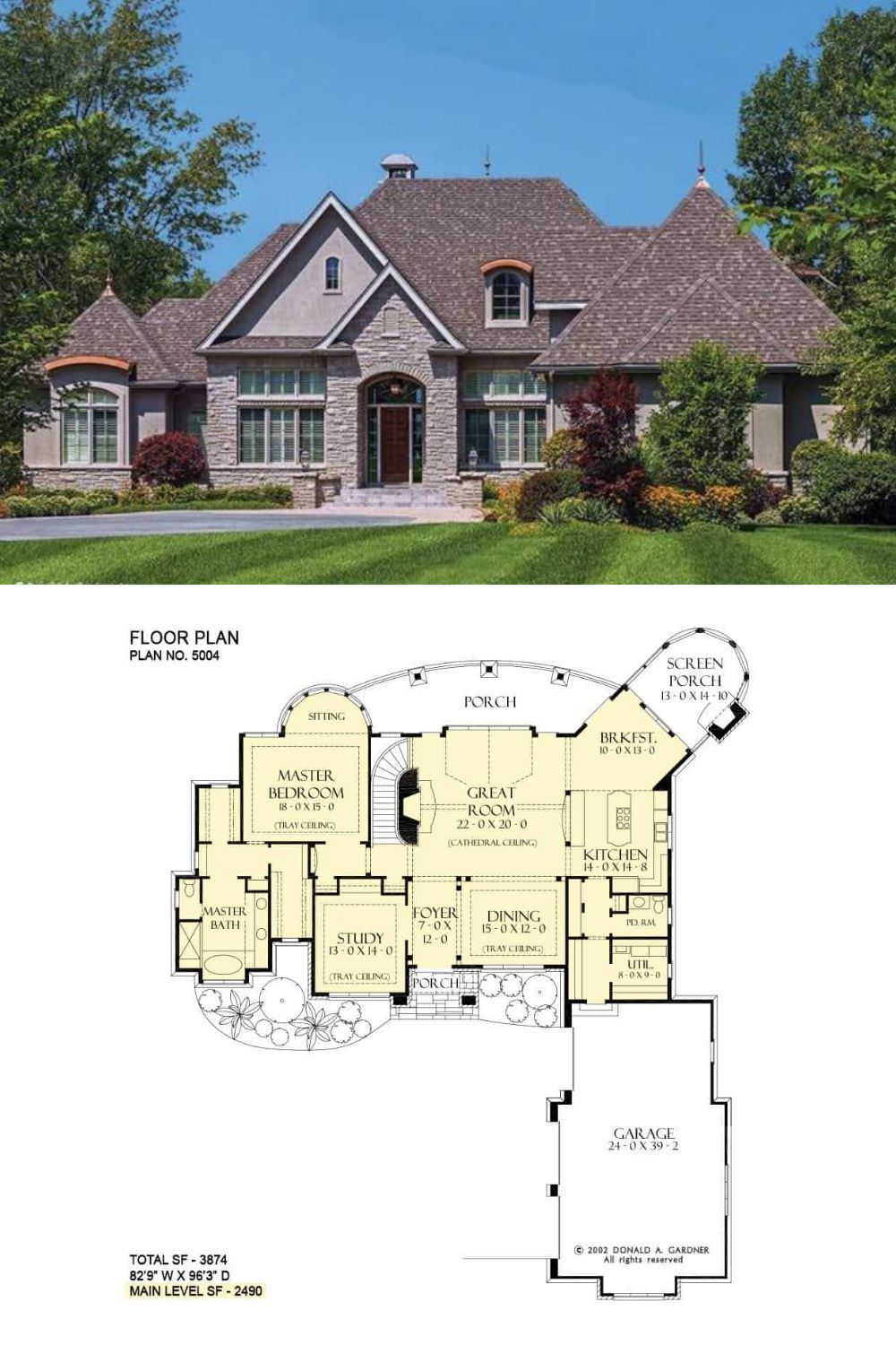 The Cedar Court s 3 Bedroom 2 Story European House Plan for a Sloping Lot Floor Plan