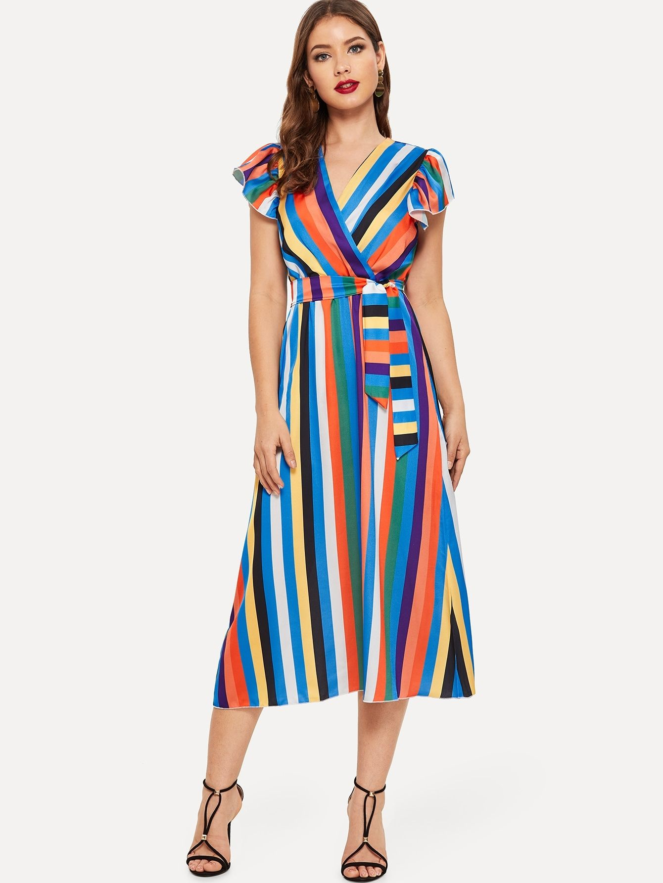 6d749180ae Casual Belted Striped Sheath V Neck Cap Sleeve High Waist Multicolor Long  Length Self Tie Colorful