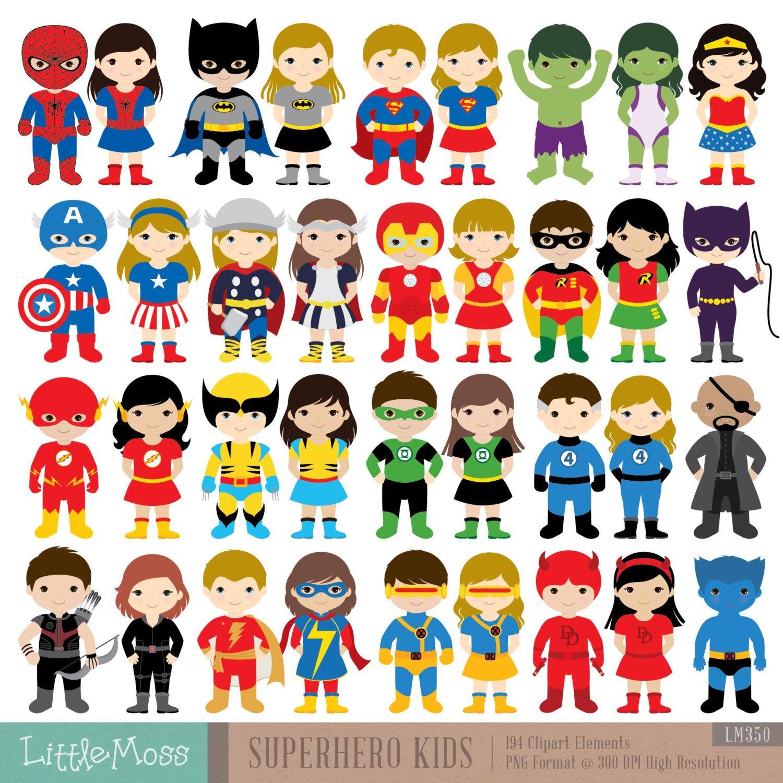 36 Kids Superhero Costumes Clipart, Superheroes Kids Clipart ...