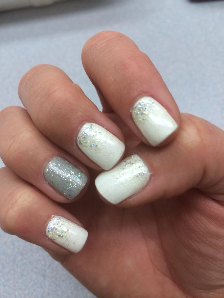 Awesome Winter Nails White Grey And Glitter White Tip Nails Trendy Nails White Nails