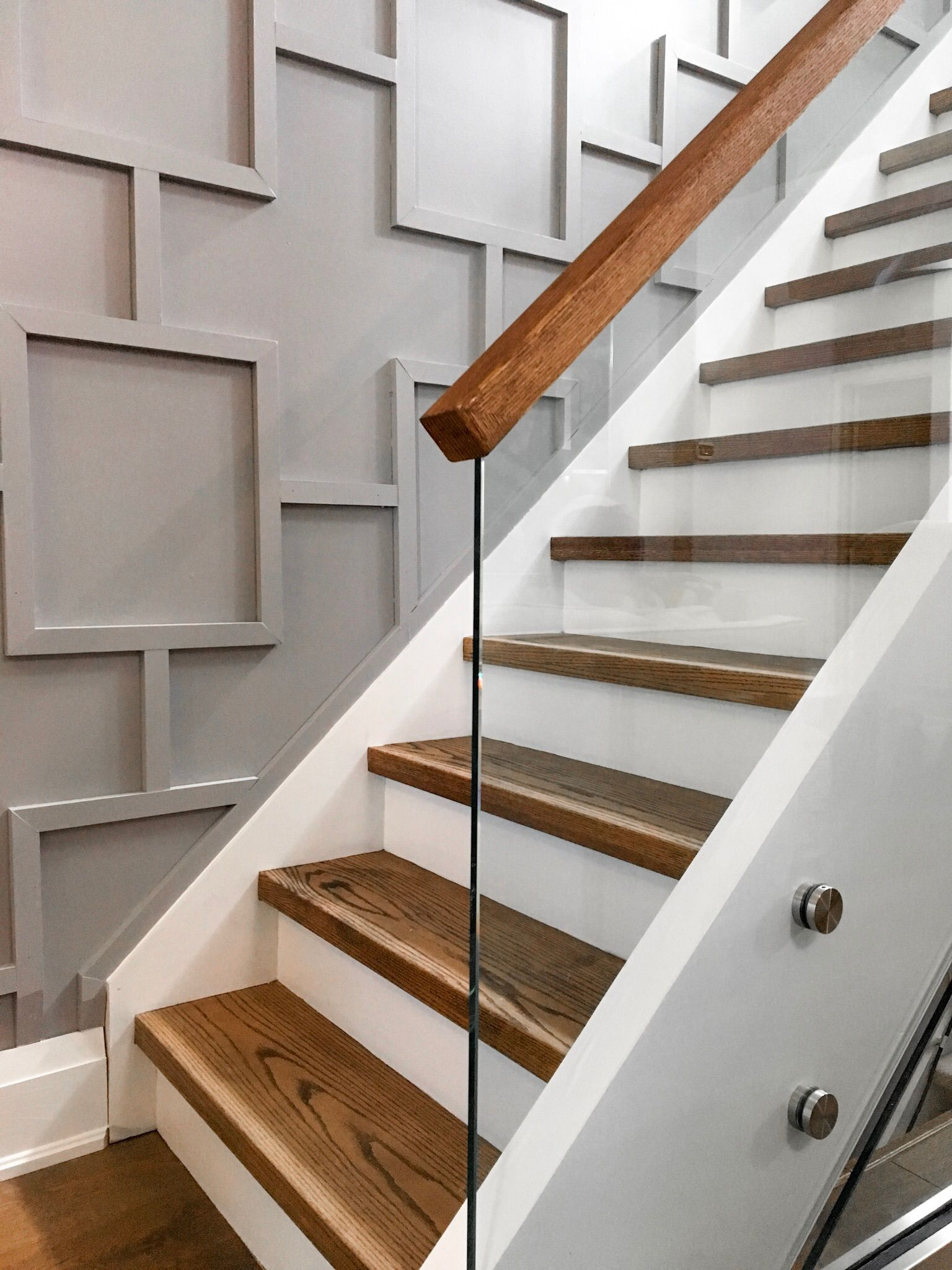 Basement Stair Trim: Glass Staircase With Applied Molding Wall Millwork