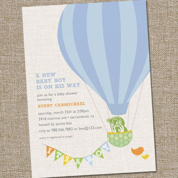 Hot Air Balloon Baby Shower Invitation by partymonkey on Etsy