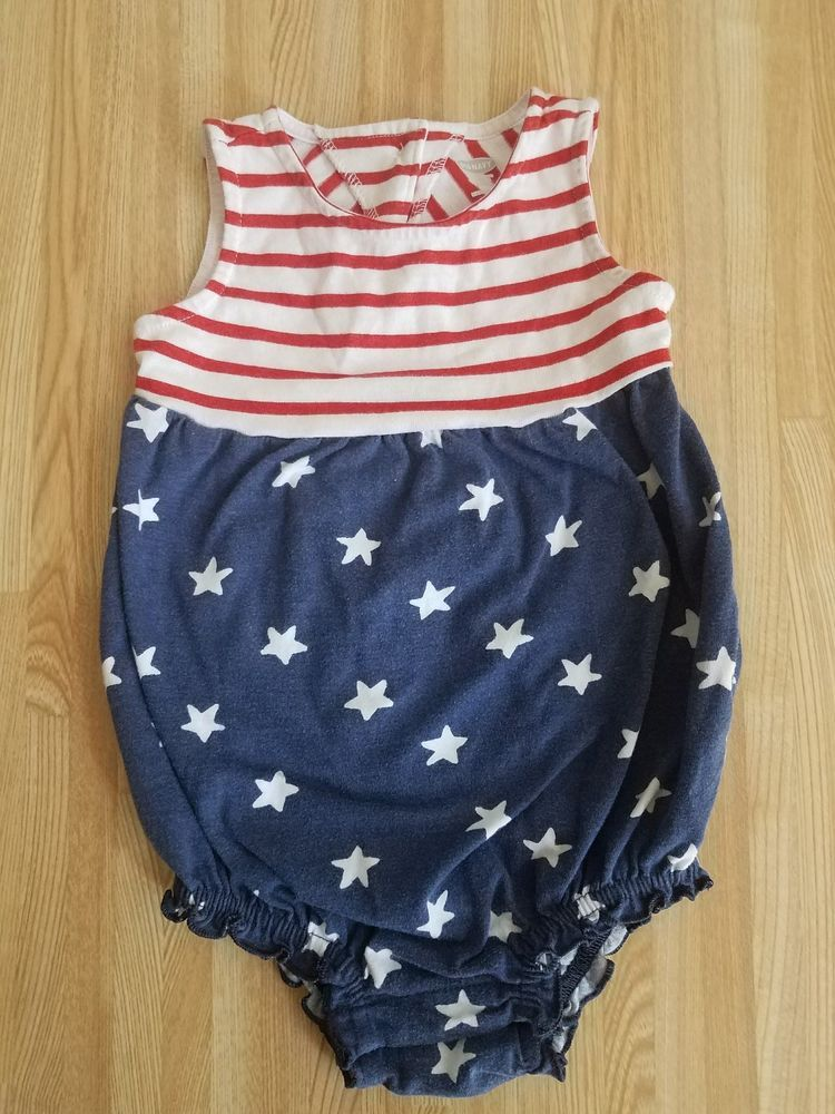 afd5eb6c9 12-18 MonthsOld Navy Patriotic RomperAmerican Flag4th of July Red ...