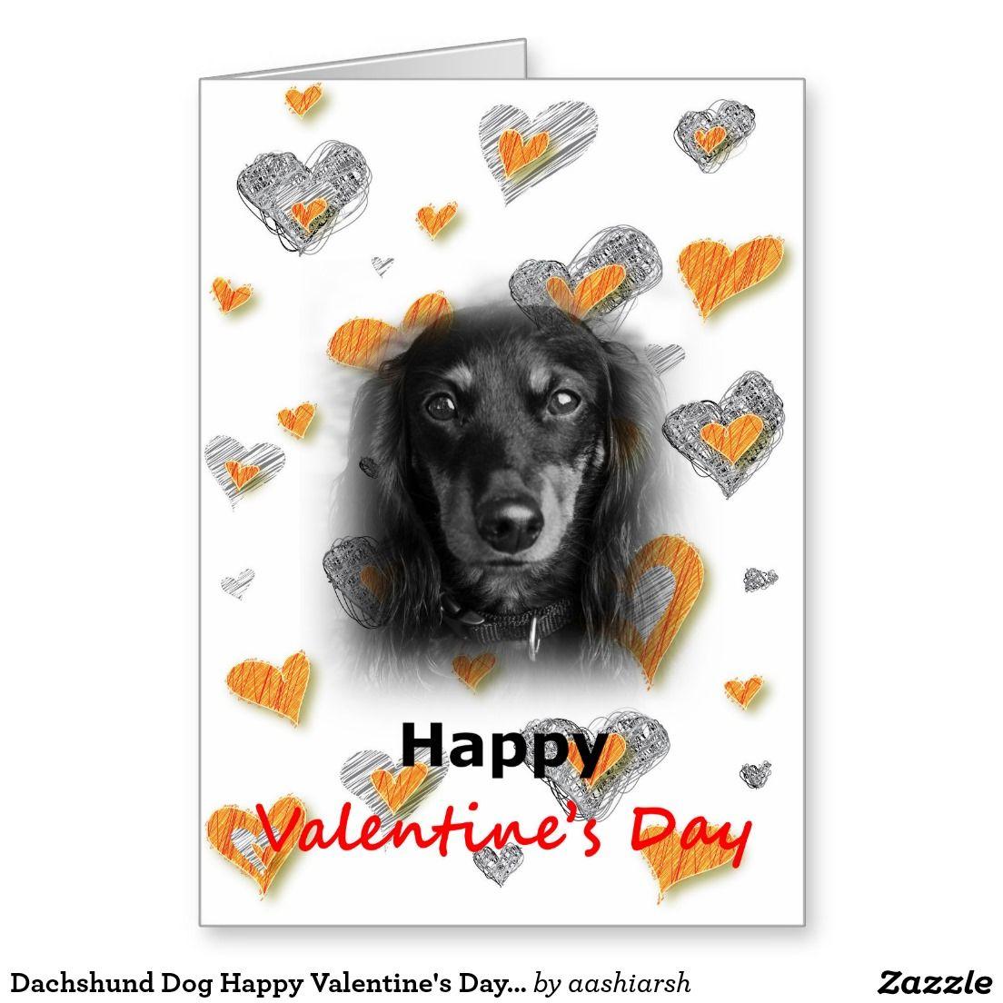 Dachshund dog happy valentines day hearts card zazzle