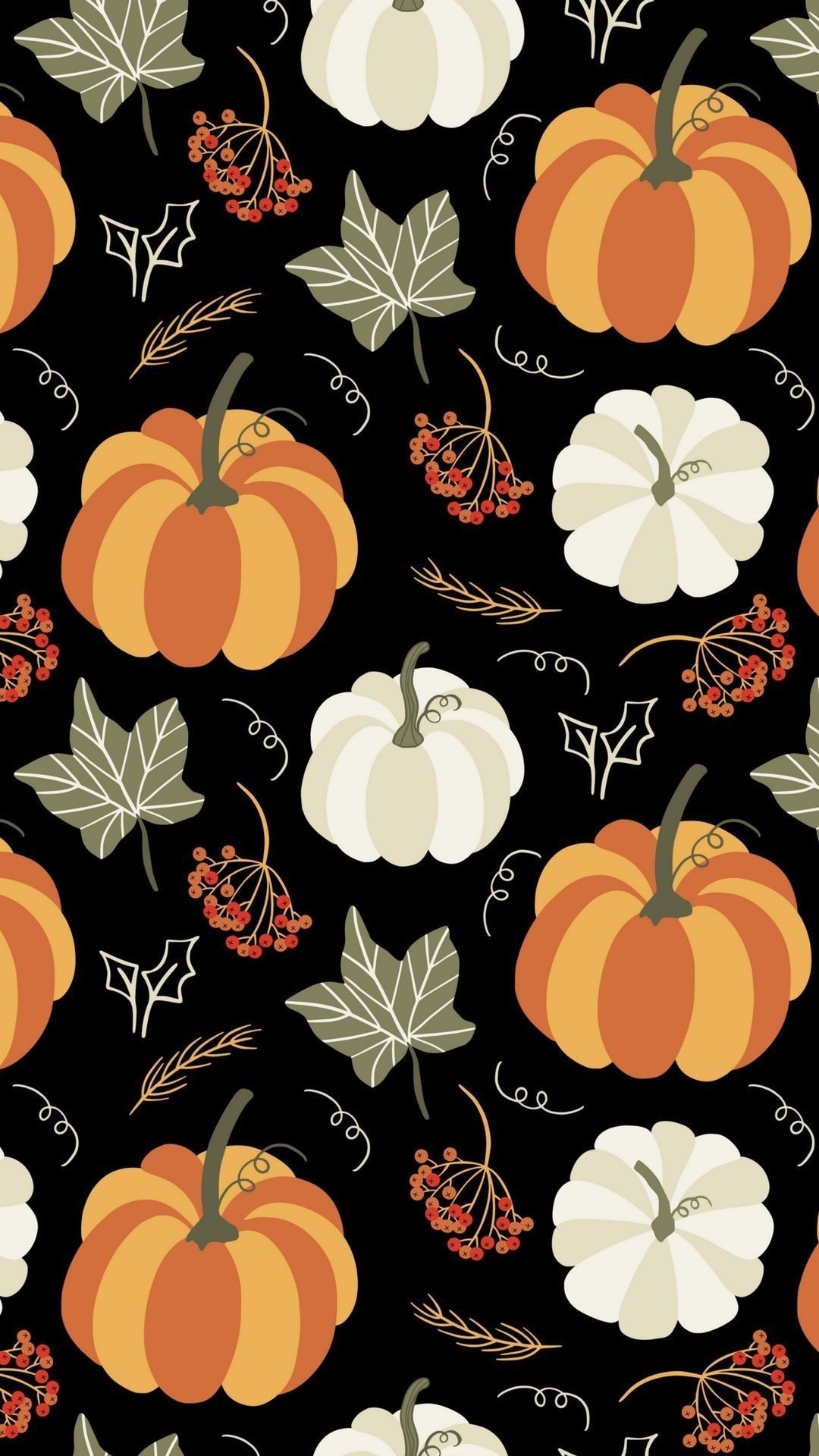 Leaves with orange and white pumpkins Halloween