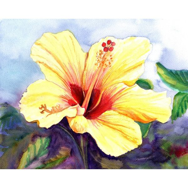 yellow hibiscus art prints, 8x10 giclee print, hawaiian art ...
