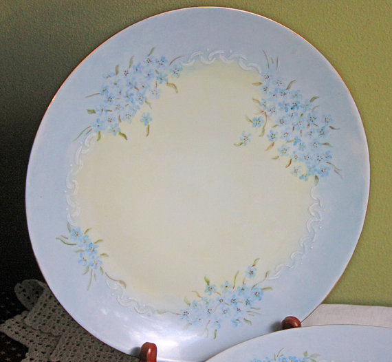 Dinner Plate with Hand Painted Forget Me Not and Gold Rim. Plate Made by Holiday China in Germany & Dinner Plate with Hand Painted Forget Me Not and Gold Rim. Plate ...