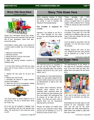 Fun Inside Page For Schools Try This 11x14 Newspaper Template Now