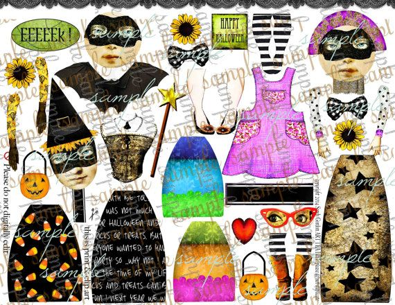 ART TEA LiFE Halloween Journal Paper Dolls Collage Sheet digital file printable download decoupage clip art scrapbook journalling page