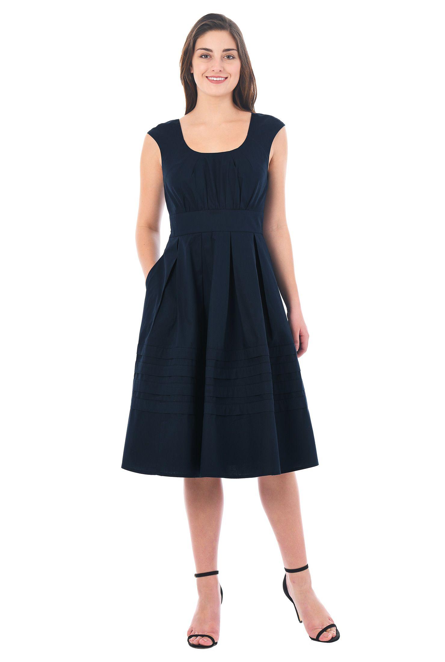 Below knee length dresses cap sleeve dresses cottonspandex
