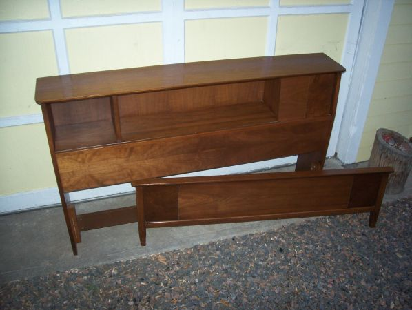 Beautiful walnut full-size bookshelf bed (headboard ...