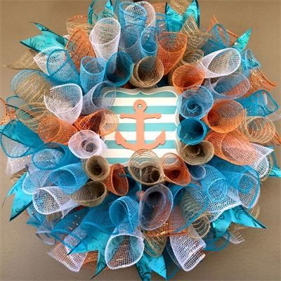 "20"", Spring & Summer Orange Anchor Spiral Mesh  Wreath in Orange, Turquoise, Tan Burlap, Light Blue, Gray & White with Wavy Turquoise  Ribbon : $40 Made by Red-y Made Wreaths. Like & Follow us on Facebook https://www.facebook.com/pages/Red-y-Made-Wreaths/193750437415618 or Visit us at http://www.redymadewreaths.com/"
