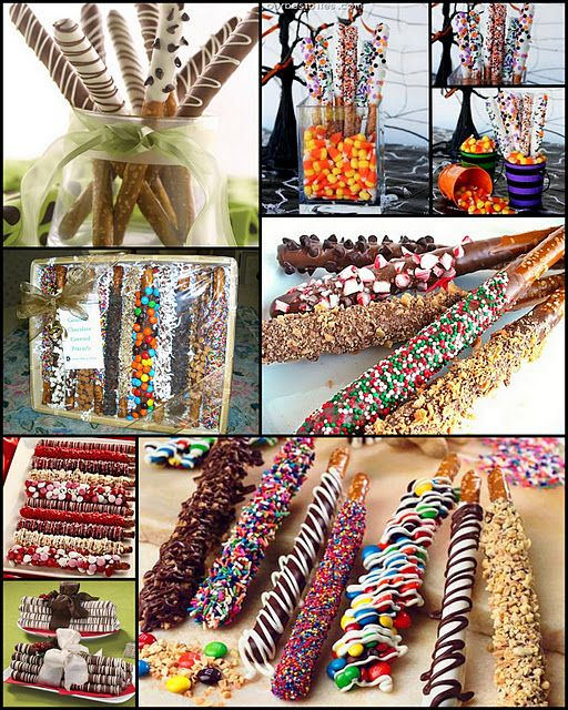 Tons of dipped pretzel ideas. These are perfect holiday treats for people. Use leftover Halloween candy as toppings for Christmas pretzels. Genius!