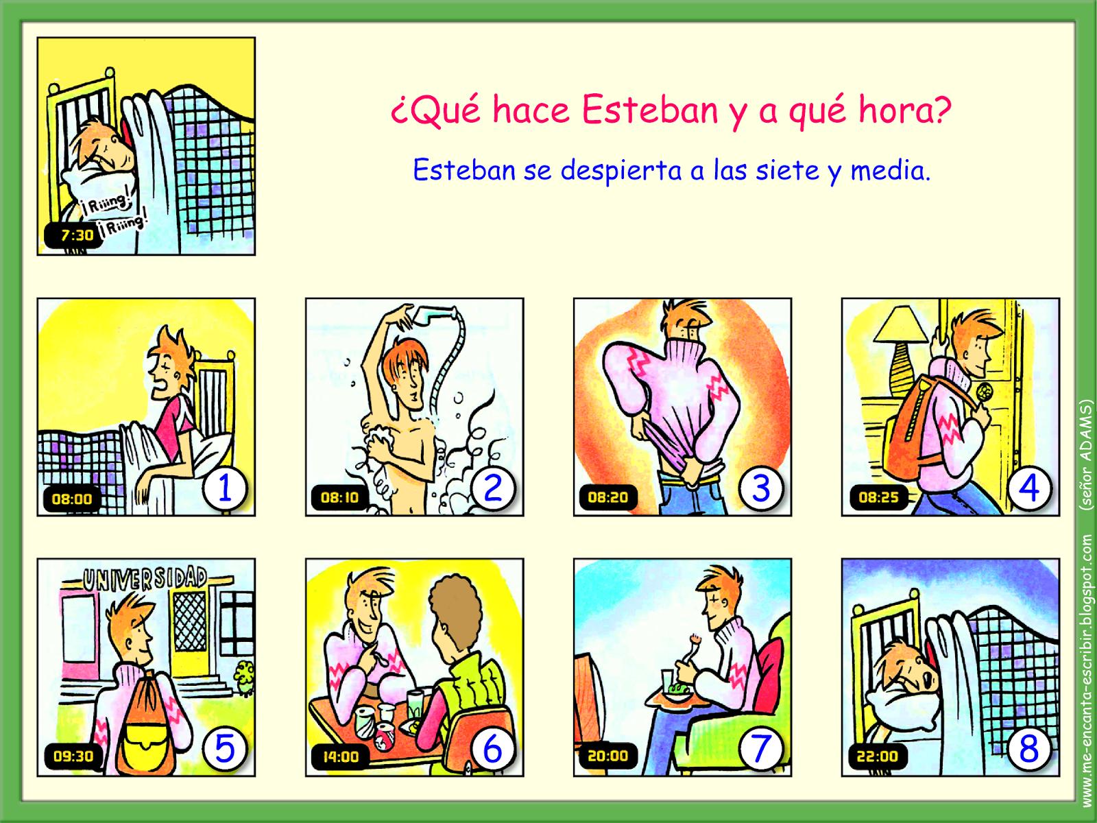 Me Encanta Escribir En Espanol La Rutina De Esteban