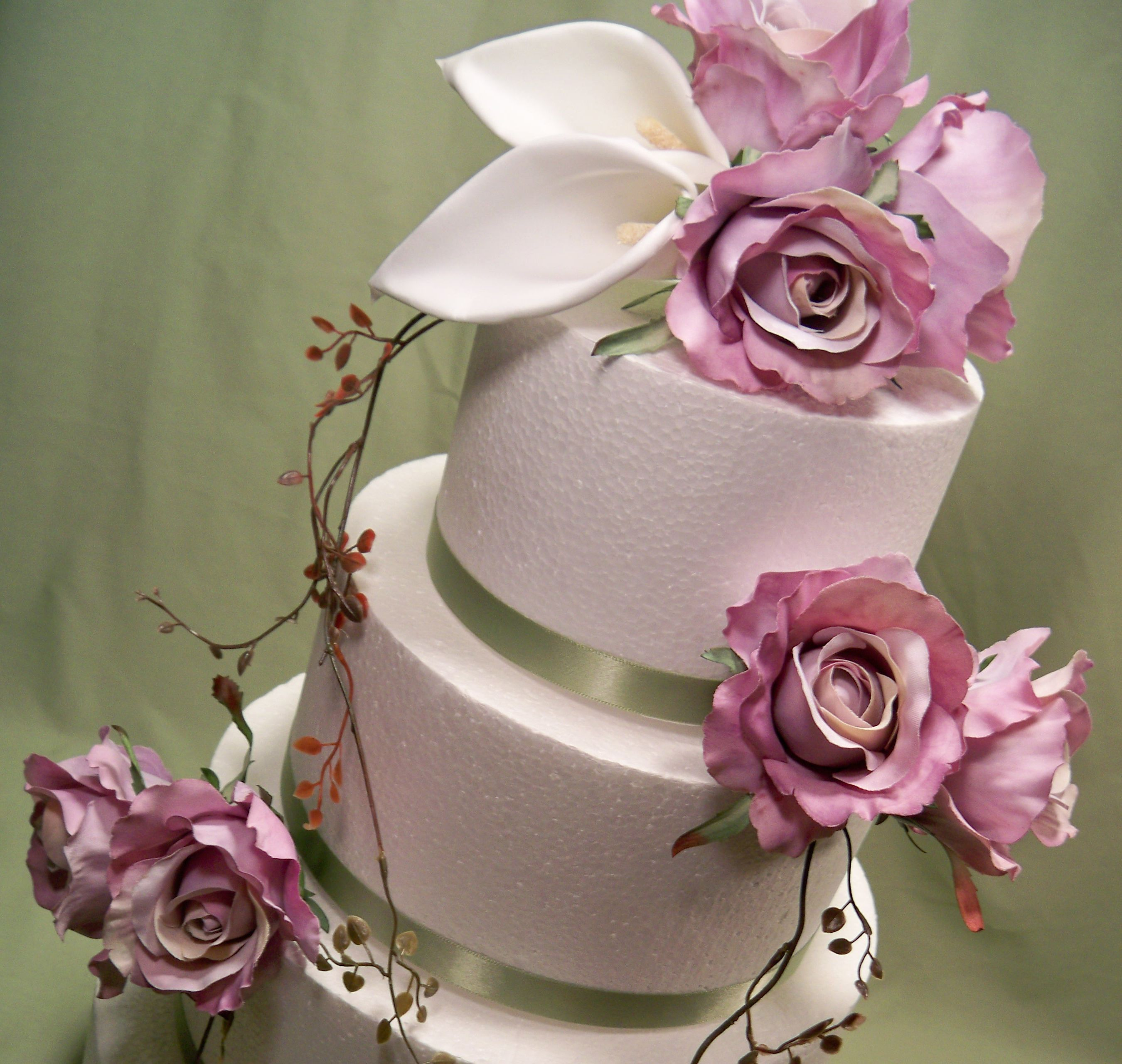 Lavender Rose and White Calla Lily Silk Flower Wedding Cake Topper