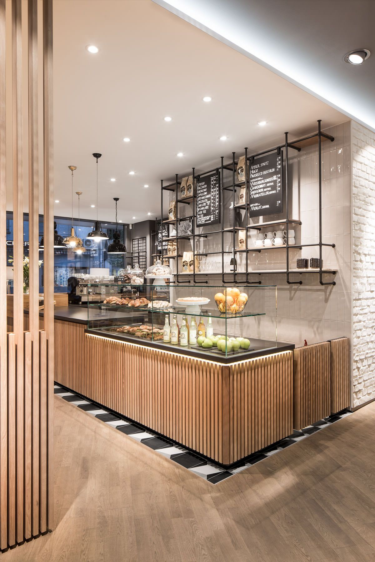 Photo of café, service counter, architecture, natural materials, wood, oak slats, chessb…