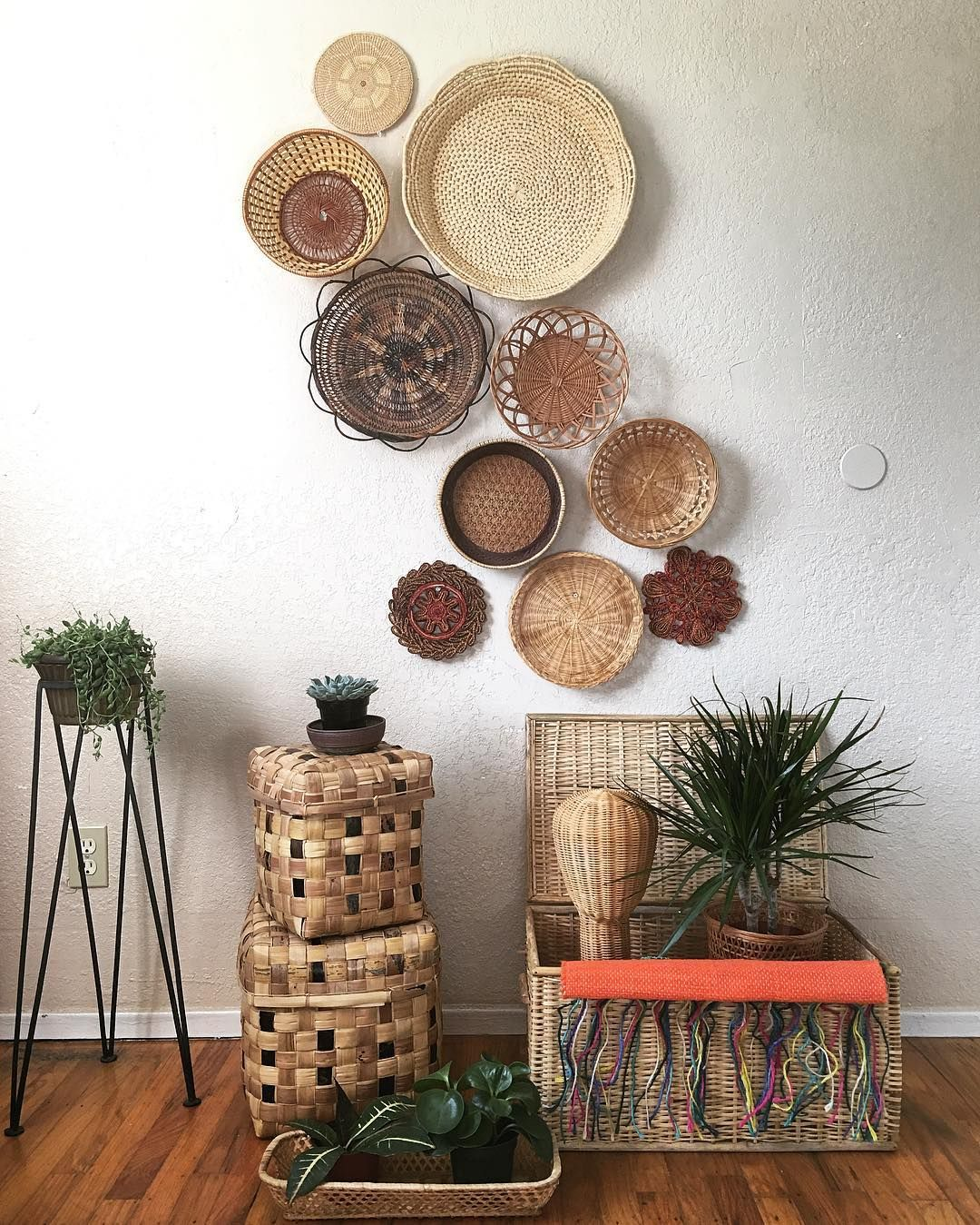 Boho Style Wall Gallery Basket Wall Decor Baskets On Wall Decor