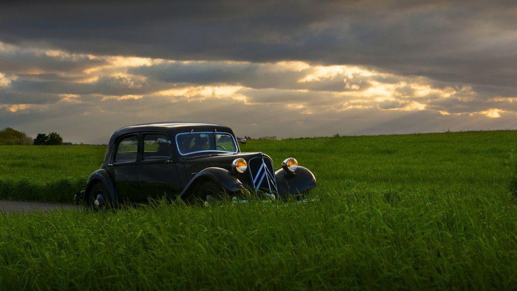 Classic Car In Grass Field Landscape Wallpaper Classic Wallpaper Classic Cars Car