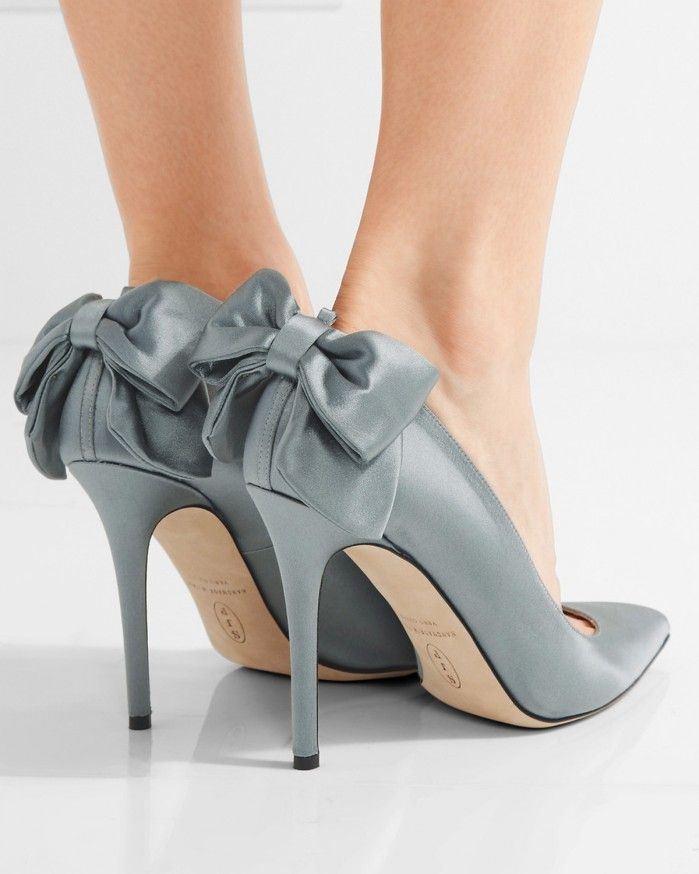 12c55dbc621 Heel measures approximately 4 inches Gray satin Slips on Designer color   Majesty Made in Italy