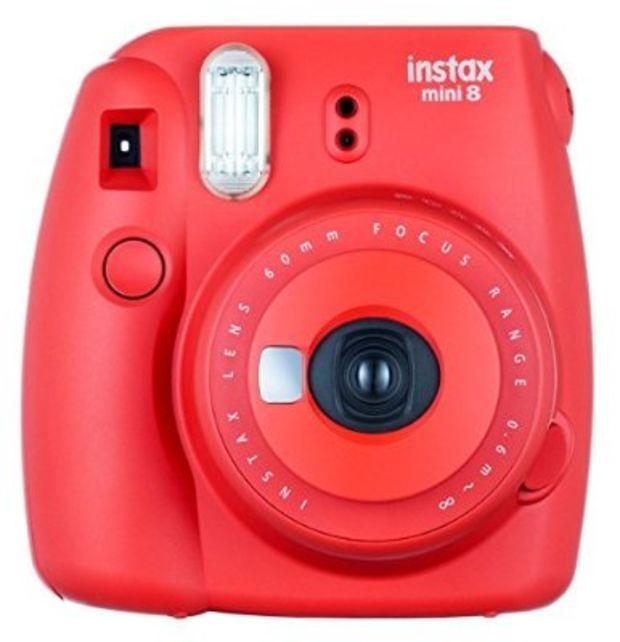 Fujifilm Instax Mini 8 Instant Film Camera (Red Raspberry) With Fujifilm Instax Mini 5 Pack Instant Film (50 Shots) + Compact Bag Case + Batteries Top Kit