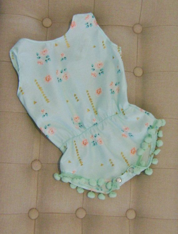 ff240eb5b4e Baby Girl Play Suit   Baby Romper   Pom Pom Play Suit   Mint and ...