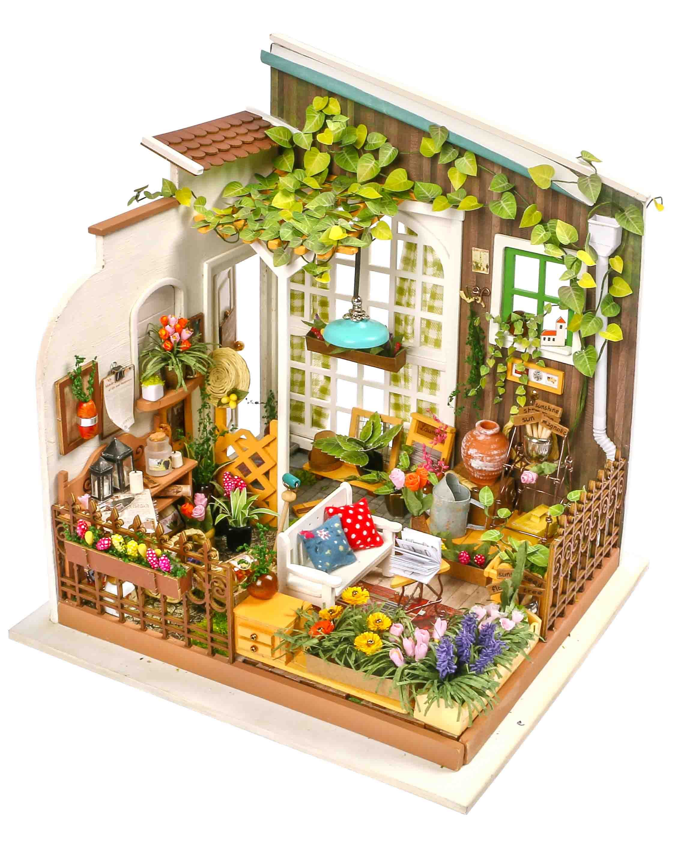 DIY Wooden Garden Flower House 3D Dollhouse Furniture Kit Light Creative Gift