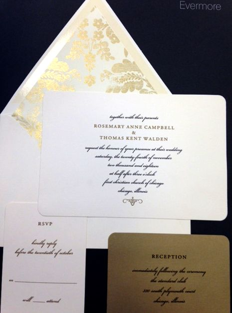 Cream, Black and Gold wedding invitation with shimmery gold lining. Available from www.paperhabit.com