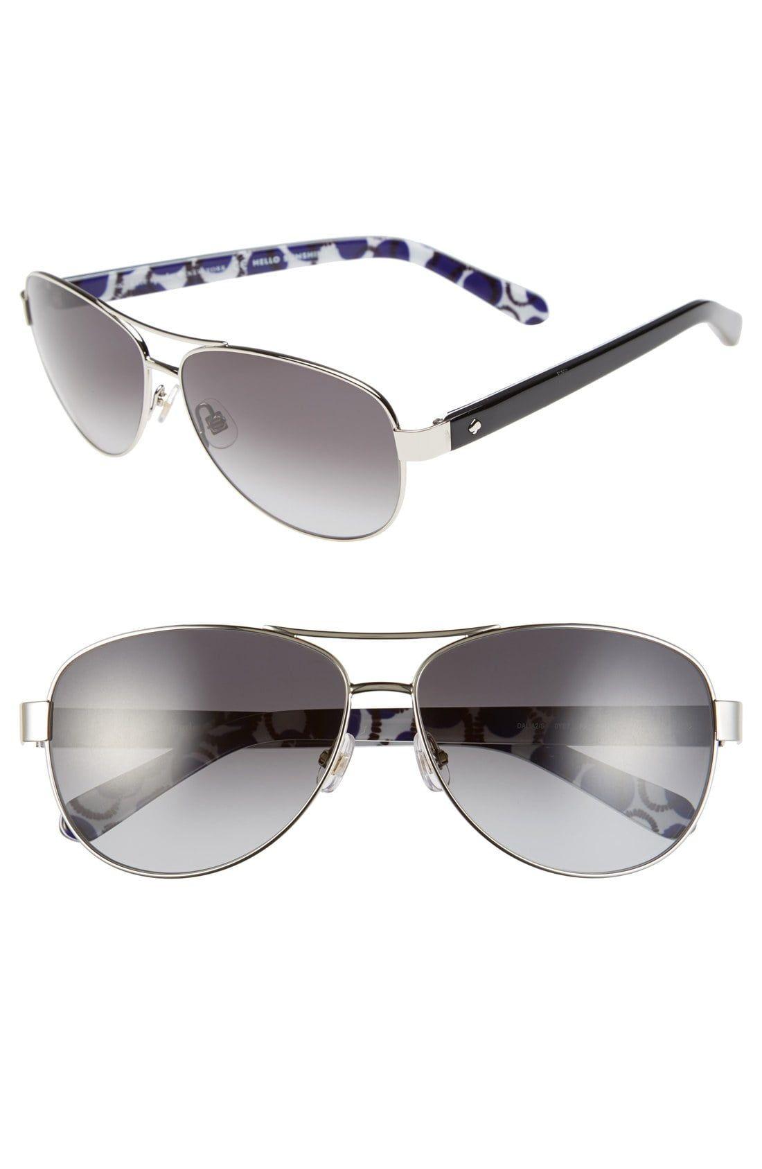 7a38863146c9 Women's Kate Spade New York 'Dalia2' 58Mm Aviator Sunglasses - Silver/ Dots