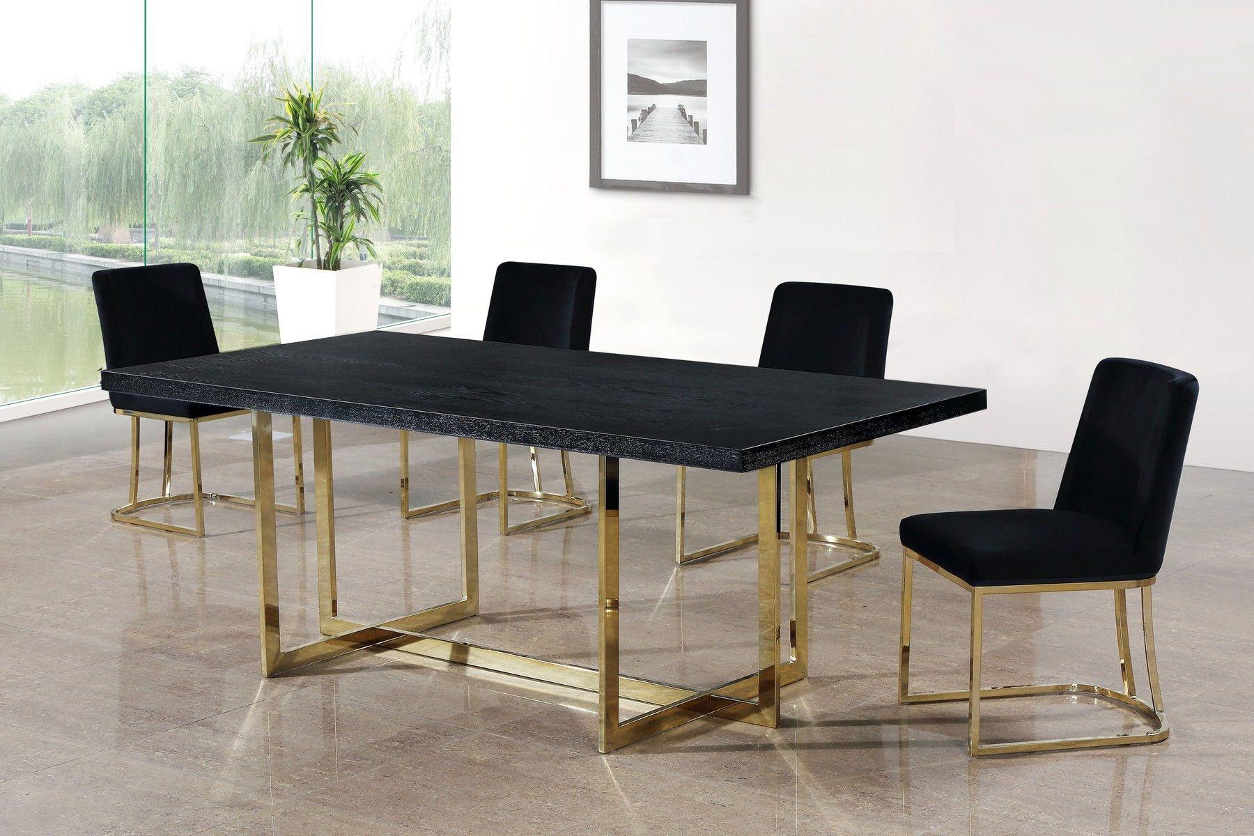 Heidi Black Dining Chair 776 Meridian Furniture Dining Chairs In 2021 Gold Dining Room Dining Table Gold Dining Chairs Diy
