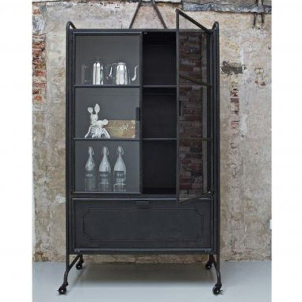 vitrinenschrank storae schrank metall schwarz schr nke kommoden regale vitrine schrank. Black Bedroom Furniture Sets. Home Design Ideas