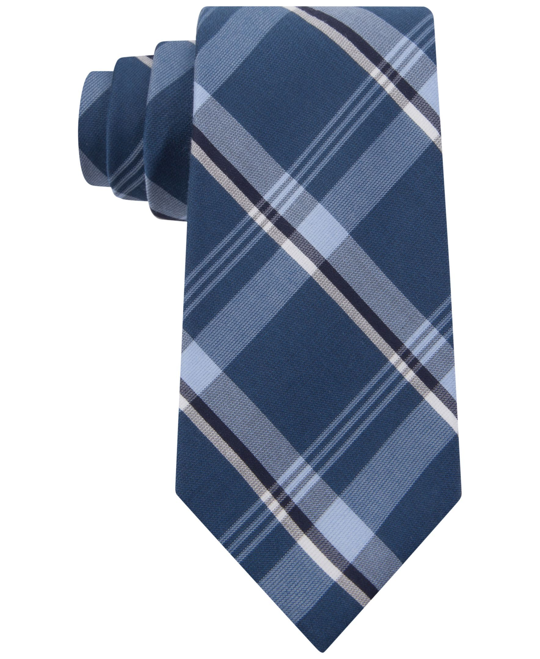 17457984790d Kenneth Cole Reaction Indigo Plaid Slim Tie | Products | Slim tie ...