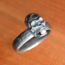 Diamond Mouth Skull Ring, Oxidized Sterling Silver, Size 8.5, Hand-made in USA