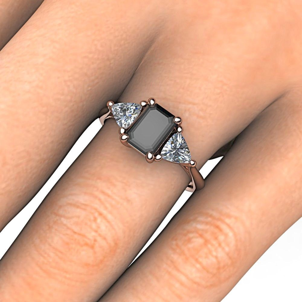 Rose Gold Black Diamond Engagement Rings  Black Diamond And White  Trillion Cut Emerald