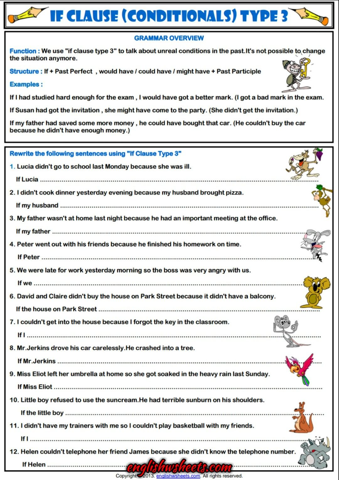 Worksheets Esl Practice Worksheets conditionals type 3 esl grammar exercises worksheet 2 worksheet
