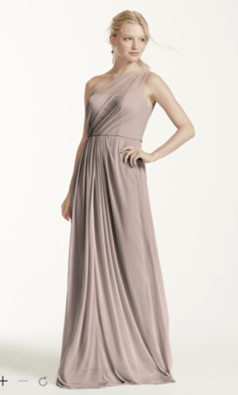 297ef645d2 Used David s Bridal Long Mesh Dress with One Shoulder Neckline Bridesmaid  Dress  80 USD. Buy it PreOwned now and save 50% off the salon price!